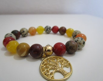 Dalmatian Jasper, agate bracelet veins of dragon, Mokaita and Coral sponge, hanging tree of life, gift for woman, bracelets