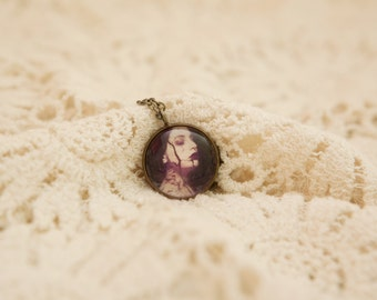 Gothic Surreal Portrait Photo Necklace, Antique brass chain, Small 20mm pendant, Vintage style, Dark, Photography, UK Seller, Gift idea