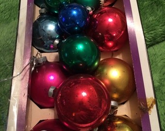 13 Vintage Mercury Glass Ornaments