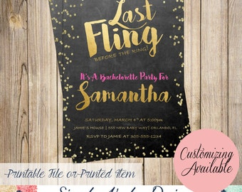 Last Fling Before The Ring Bachelorette Party Invitation