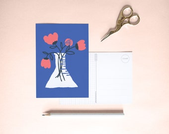 Postcard - flowers blue    Cheerfully illustrated
