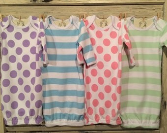 Boy/Girl Monogrammed Pastel Stripe or Polka Dot Baby Gowns