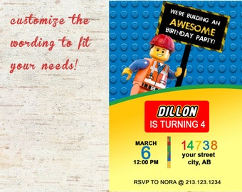 Lego Birthday Party Invitation- DIGITAL DOWNLOAD