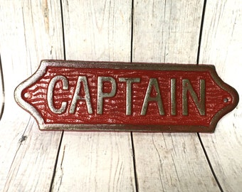 Cast Iron Captain Sign - Nautical Decor - Bathroom Wall Art - Nautical Nursery - Beach House Decor - Nautical Bathroom - Nursery Decor Boy