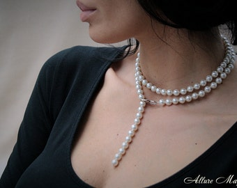 VANESSA • Multi Variation Glass Pearl Сhainlet with Silver 925 Clasp you can Use it as a Necklace - Bracelet - Belt