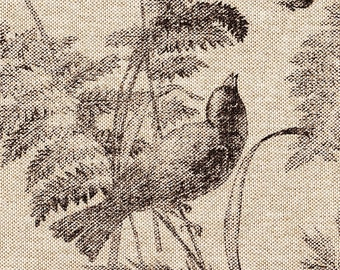 Decorative Pillow Bird Toile Fossil Brown
