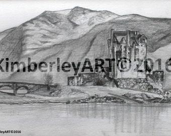 Scottish Castle Art Print, Eileen Donan Castle Print, Castle Drawing Art Print, Scottish Castle Wall Art Print, Mountain Castle Art Print