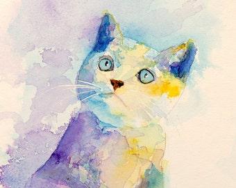 Original kitten watercolor - original kitten painting - purple and yellow cat watercolour