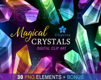 Crystal GEMSTONES digital clip art. 30 PNG elements. Design, fashion, precious gems, nugget, jewels, faceted, agate, rocks. Read about usage