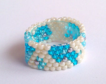 Blue  Ring - Beadwoven Ring - Boho Jewelry - Seed Bead - Beadwork - Beaded Ring