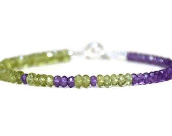 August Birthstone Bracelet, Peridot Bracelet, Green Purple Bead Bracelet, February Birthstone, Amethyst Gemstone, Silver Gemstone Bracelet
