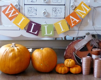 Personalised name bunting, autumn and fall birthday, little pumpkin baby shower, photo prop