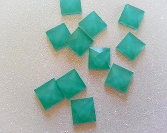 12mm Mint Green Square Faceted Glass Cabochon - 10 pcs