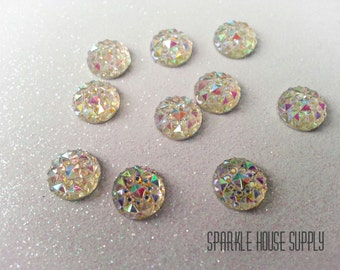 10mm Clear, White Sparkle Cabochon with Iridescent Prism, Pyramid Detail - 10 pcs