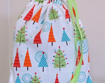 Christmas gift bag. Small drawstring bag.
