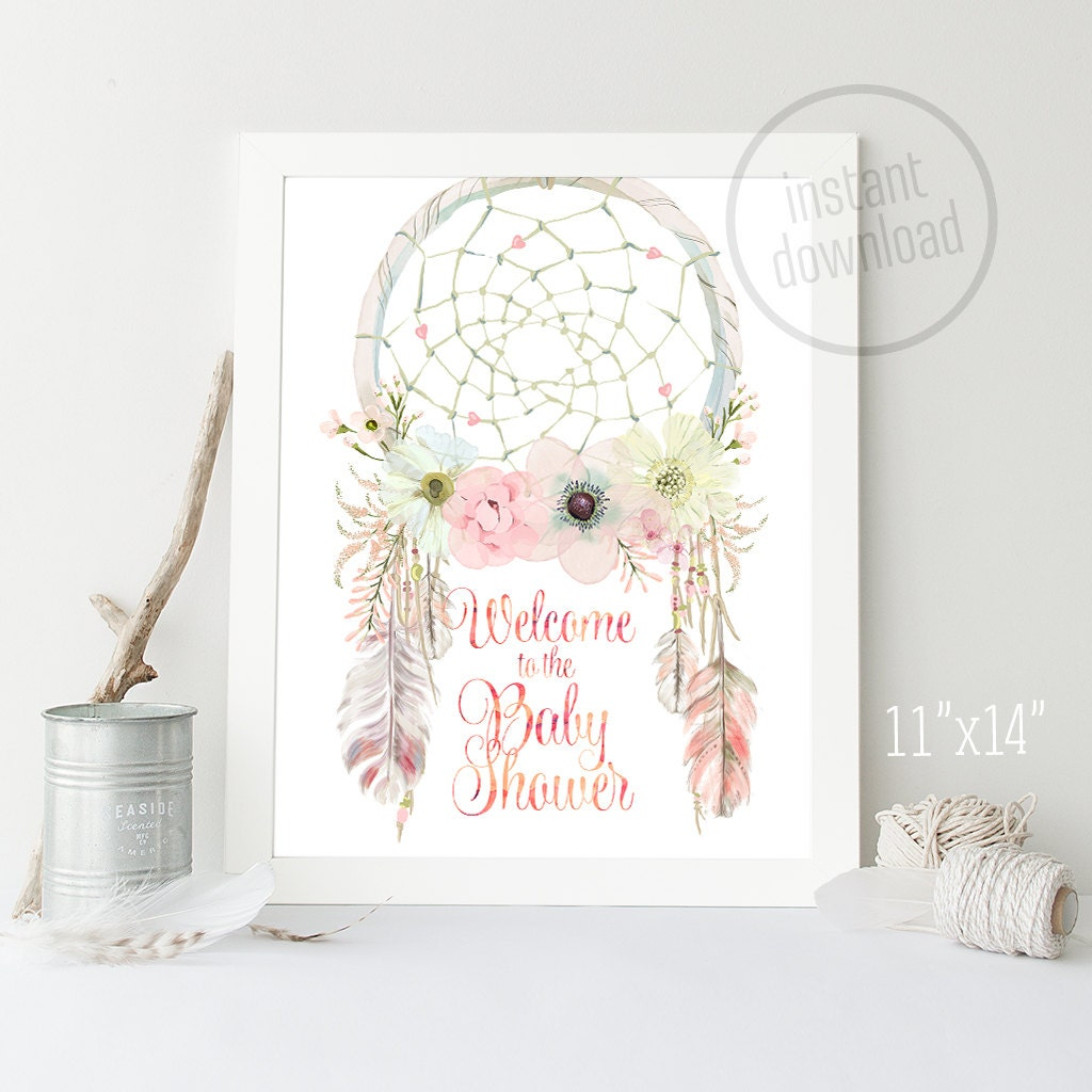 Welcome Sign Dream Catcher 11x14 Baby Shower Watercolor Tribal