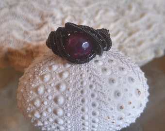 Black Wire Wrapped Purple Agate Ring