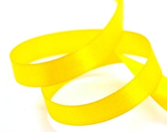 22.5 m yellow satin ribbon - 13 mm wide
