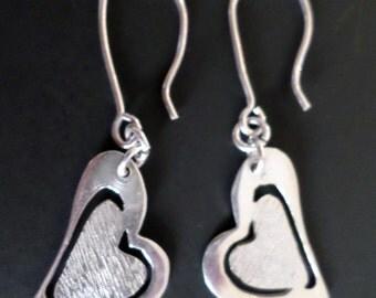 Sterling Silver Open Work Heart Dangle Earrings.