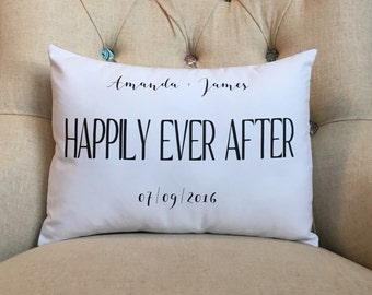 Happily Ever After Pillow Cover - Personalized Name and Date Pillow - Wedding Date Pillow - Anniversary Pillow - Personalized Gift - Bridal