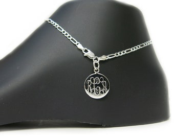 Monogrammed 925 Sterling Silver 3mm Figaro Chain Personalized Anklet