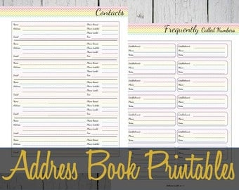 Address Book Printable Pages, Contacts Insert, Discbound Refill, Martha Stewart, BIG Happy Planner - INSTANT DOWNLOAD