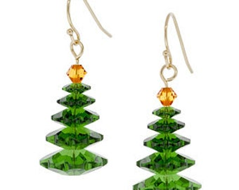 Magical Trees Swarovski Crystal Earrings ~ Gold Style ~ Native American Made