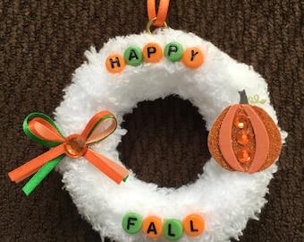 Happy Fall Ornament | I Love Fall | Autumn Decor | Autumn Mini Wreath