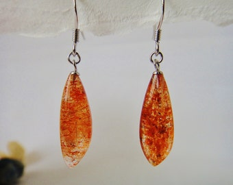 Sterling Silver Long Sunstone Earrings