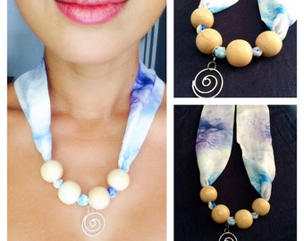 Fabric necklace made from hand painted pure silk with its handmade silver pendant. Original and unique design