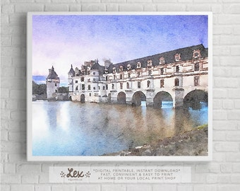 France, Châteaux of the Loire Valley - Aquarelle Watercolor Painting Digital Wall Art Instant Download