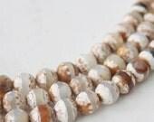 8mm Earthtone White Brown Tibetan Agate Faceted Round Beads Strand Tibetan Jewelry Supply