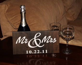 """Personalized """"Mr & Mrs"""" with Wedding Date Sign. Wedding or Anniversary Gift. Solid Wood, Hand Painted. Custom made - Options Available!!"""