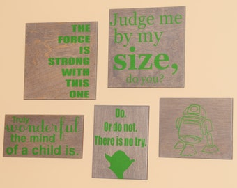 Star Wars Nursery Room / Kid's Room Art. Five (5) Piece Set. Solid Wood, Hand Painted 1-Sided Signs. Custom Made - Options Available!!