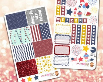 4th of July Planner Sticker Kit