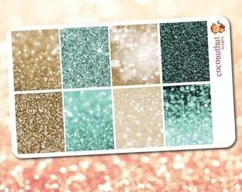 November / Teal & Gold Glitter / Bokeh Full Box Planner Stickers (Erin Condren Life Planner Monthly Colors)