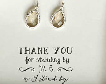 Set of 4 Gray Bridesmaid Earrings, Gray Bridesmaid Jewelry, Gray Wedding Earrings, Smoky Charcoal Earrings, Silver Gray Earrings, ES4