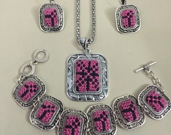 Necklace, bracelet, and earings set with black and pink handmade Palestinian Embroidery / Cross Stitch