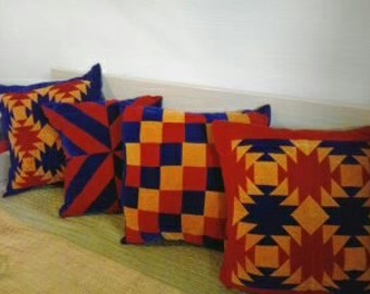Quilted handmade four pillows