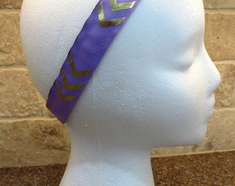 Workout Headband / Comfortable Headband / Nonslip / Purple and Gold Chevron Headband
