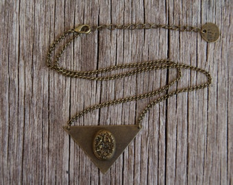 Gold Druzy Necklace / Bronze Triangle Necklace /Crystal Necklace / Gemstone Necklace