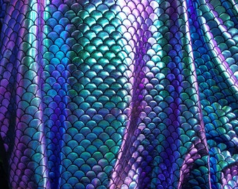Fish Scales  Stretc Iridescent, Purple, green, gold and Turquoise, Mermaid Spandex / by the yard