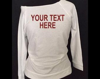 Custom off shoulder blouse with red glitter vinyl, Custom blouse, Custom shirt, #26