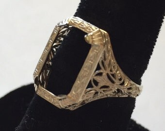 Art Nouveau 14k White Gold Filigree Ring Setting A&R