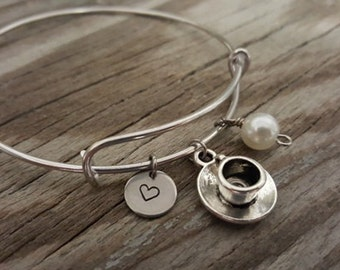 Tea Cup Bangle Bracelet - Tea Drinker Gift - Tea Gift - Tea Party Gift - Coffee Lover - Heart/Bead