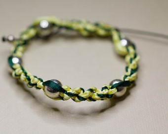 Sterling Silver Woven Green and Yellow Friendship Ribbon Bracelet, Plaited Bracelet, Adjustable Size