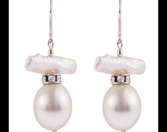 Sterling Silver Pearl Drop Earrings, Freshwater Pearl, Round Clear Cubic Zirconia, Shepherd Hooks 16mm