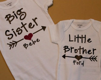 Big Sister Little Sister Personalized Set with heart, Big Sister Shirt, Little Sister Shirt, Big Sister Little Sister Shirts, Sister Shirts