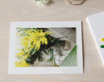 Photography embroidered by hand. Yellow