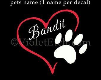 I love my dog decal-Paw Decal-Heart and Paw Decal-Pet Decal